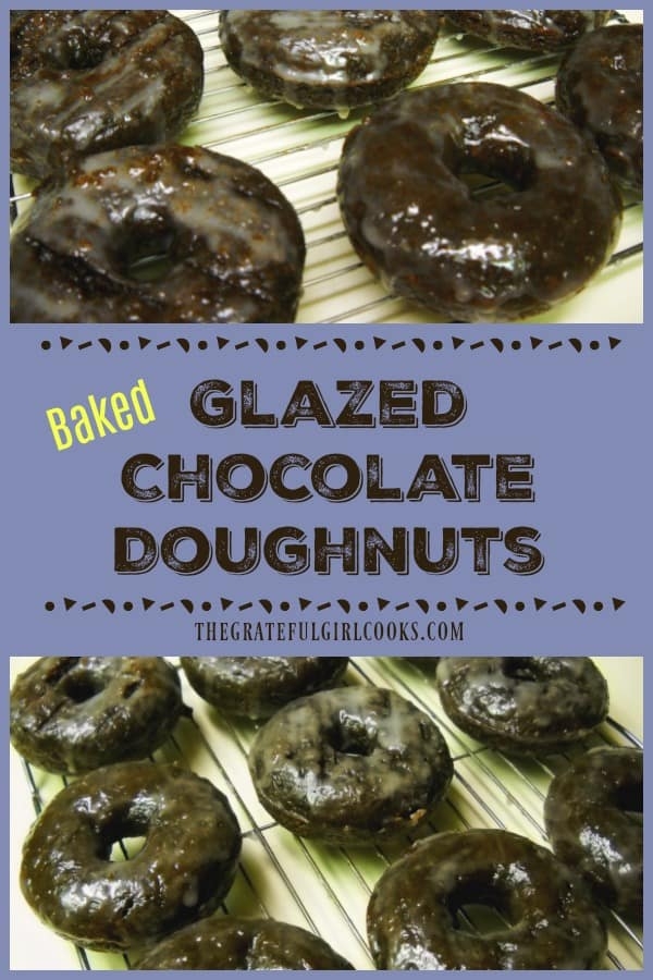 These delicious glazed chocolate doughnuts are baked, not fried! Make fresh doughnuts from scratch in the comfort of your own home in under 20 minutes!