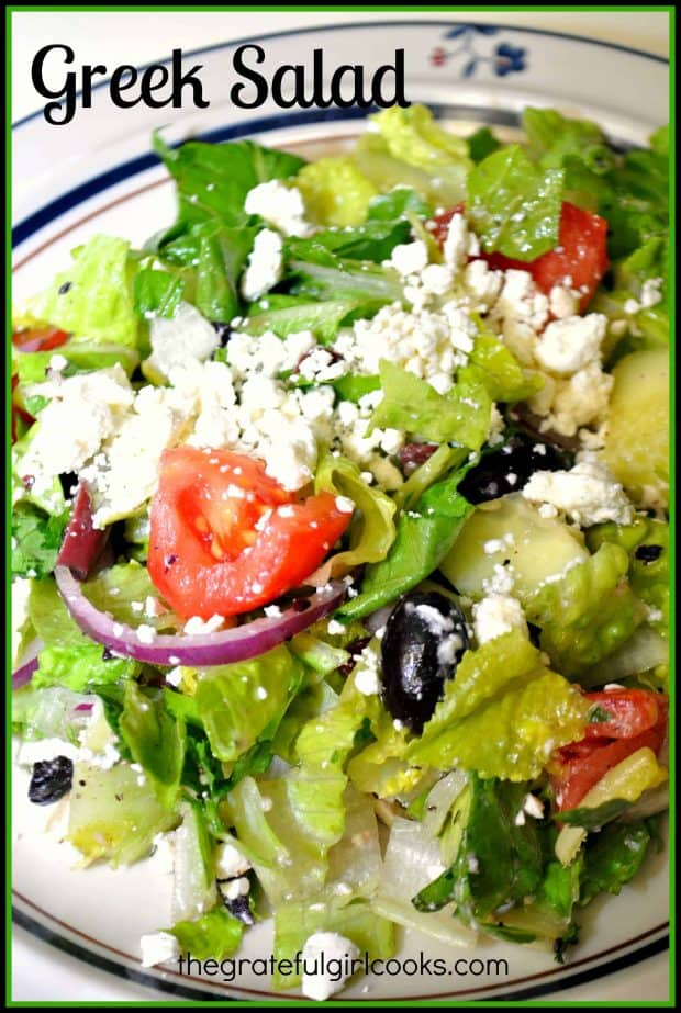 You will love the flavors in this traditional Greek salad, with romaine, kalamata olives, feta cheese, red onions and tomatoes, in a homemade salad dressing!