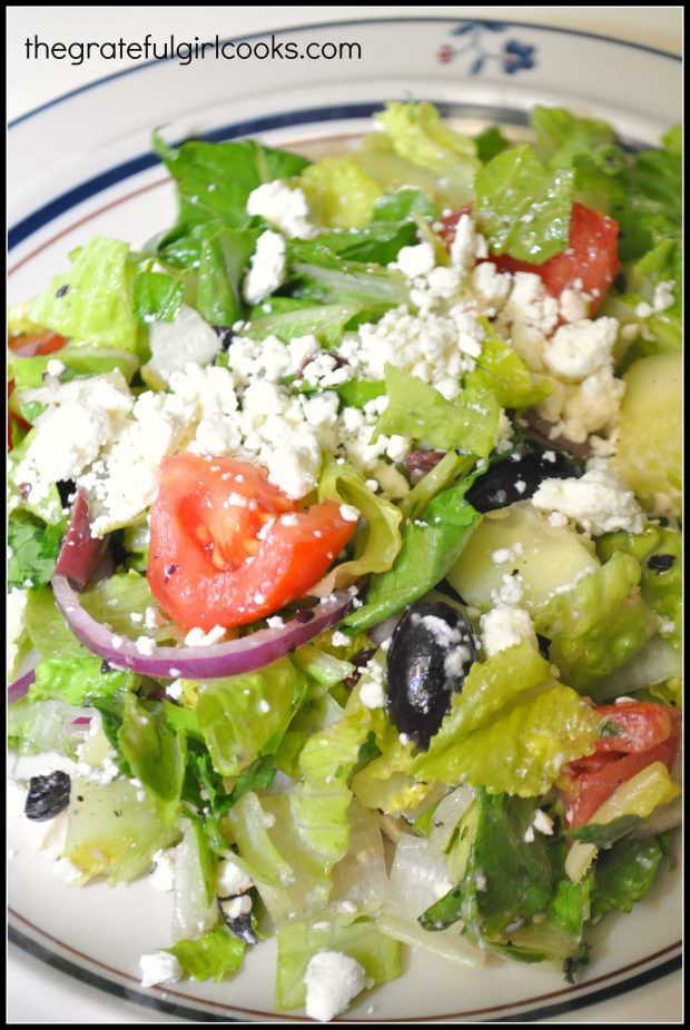 Traditional Greek salad is served on plate!