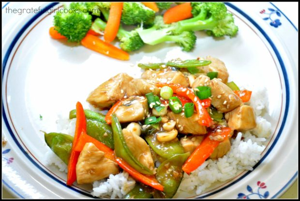 Healthy Kung Pao Chicken can be served on a bed of steamed rice.