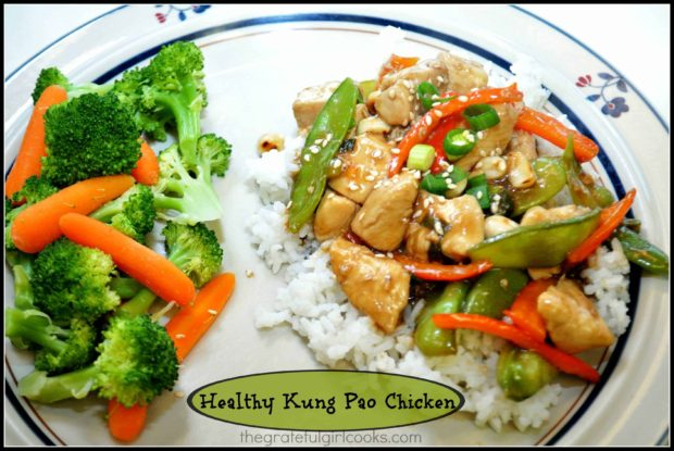 Healthy Kung Pao Chicken is easy to make, and low in calories, with snow peas, fresh ginger, red bell peppers, green onions, and dry roasted peanuts.