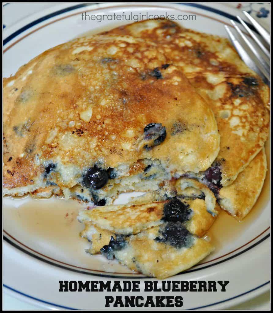 Yesterday morning I made homemade blueberry pancakes for my husband ...