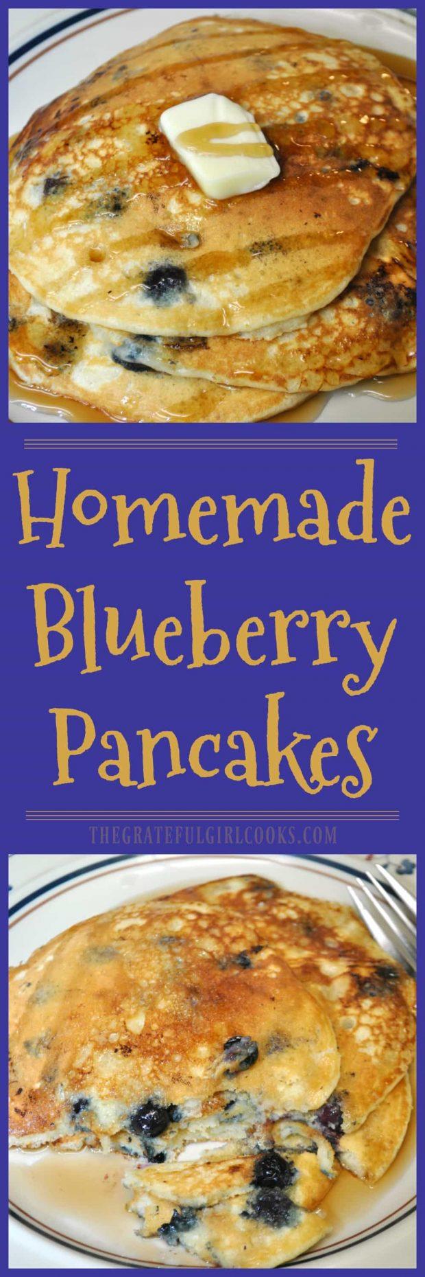 Homemade Blueberry Pancakes / The Grateful Girl Cooks!