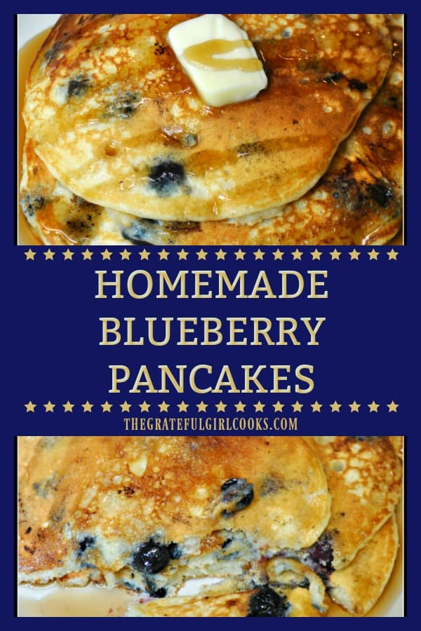 Delicious, homemade blueberry pancakes are easy to make from scratch, using Greek yogurt. Bursting with flavor...a perfect treat for a family breakfast!