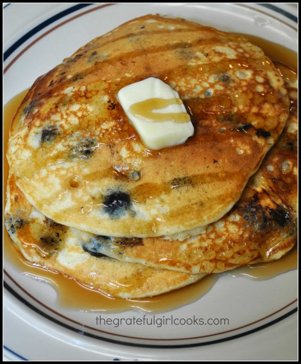 Blueberry pancakes, topped with butter and maple syrup!