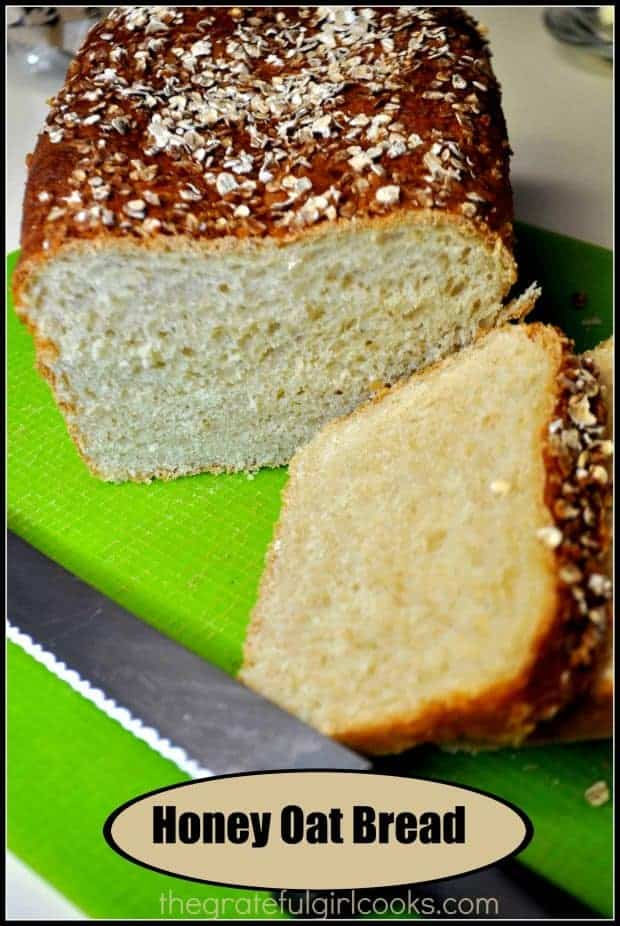 Honey Oat Bread is easy to make from scratch, without a bread machine! It's a delicious loaf of bread topped with honey & oats- great for toast or sandwiches!