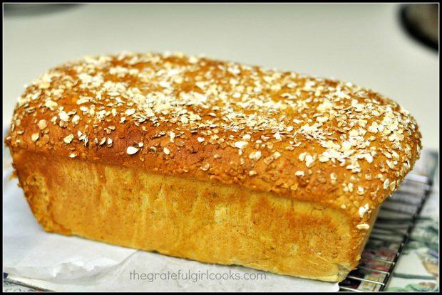 Honey Oat Bread, golden brown, cooling on wire rack