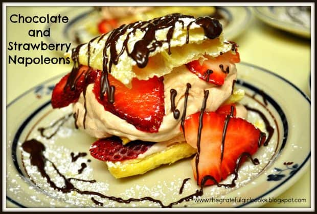 Chocolate Strawberry Napoleons are delicious layered desserts, with strawberries, creamy chocolate filling, puff pastry, and a chocolate drizzle.