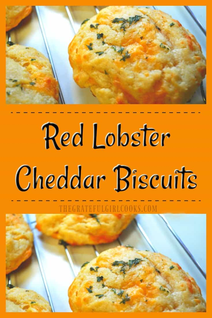Red Lobster Cheddar Biscuits / The Grateful Girl Cooks! It's EASY to make this copycat version of the popular light and fluffy, warm, buttery, cheesy garlic biscuits at home in under 30 minutes.