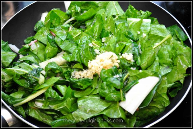 The chard is cooked in skillet until it wilts down to half the size.