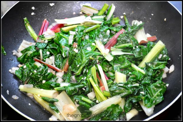 The Swiss Chard With Onions And Garlic is finished cooking, and is ready to serve.