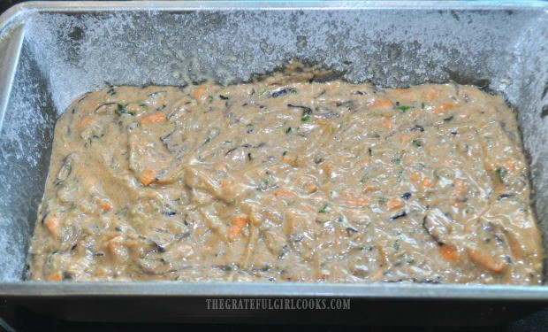Carrot zucchini bread batter in loaf pan, ready to bake!