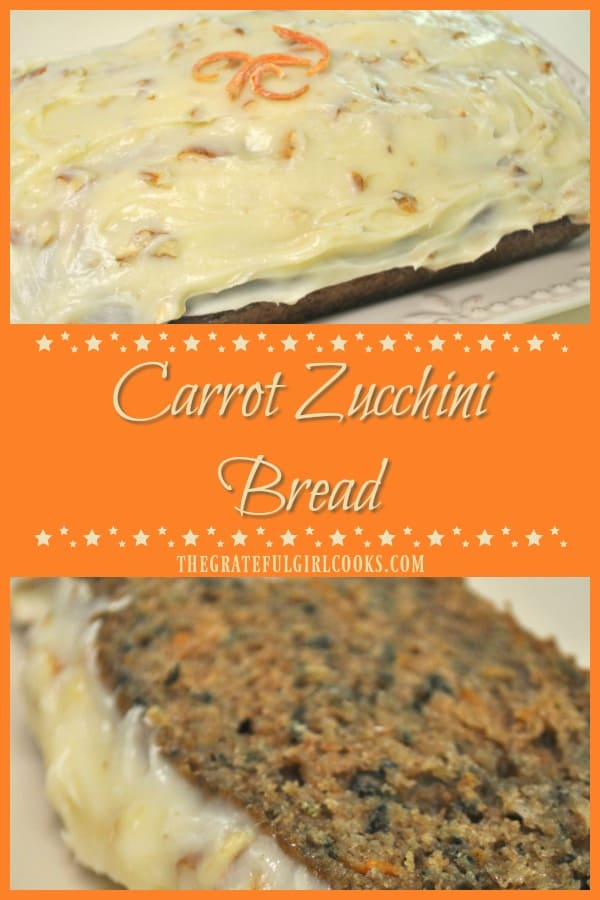 Carrot Zucchini Bread is a wonderful tasting loaf of sweet bread, topped with a cream cheese and pecan frosting! This easy to make recipe yields two loaves!