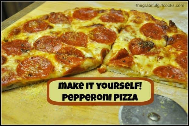 Make your own pepperoni pizza from scratch! It's easy to prepare, easy on the budget... and tastes absolutely delicious! Recipe makes 2 medium pizzas!
