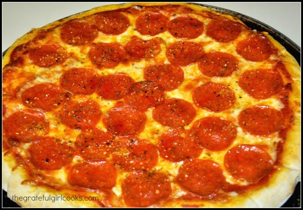 Pepperoni pizza, straight out of the hot oven!