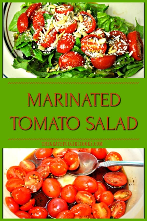 You'll enjoy this marinated tomato salad, featuring cherry tomatoes in a balsamic/honey sauce, on mixed greens garnished with pine nuts and Parmesan cheese!
