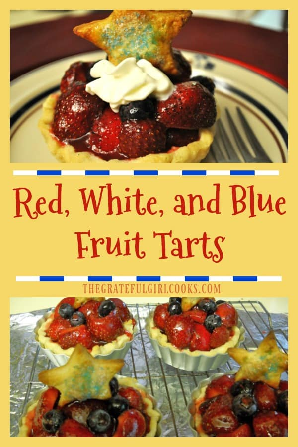 Enjoy this patriotic fruit tart, with fresh strawberries, blueberries and whipped cream in a pastry crust, topped with strawberry glaze.