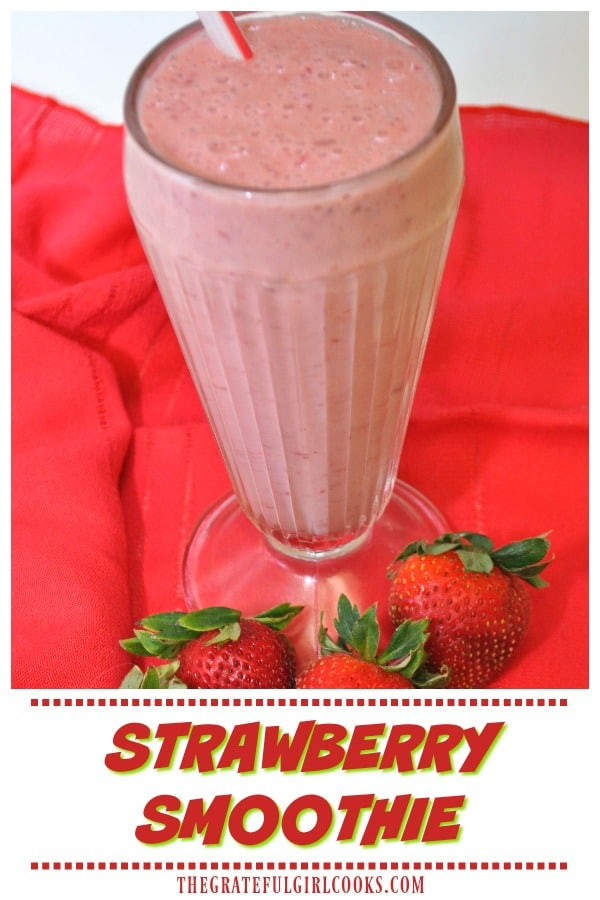 It's EASY to make a homemade strawberry smoothie, with Greek yogurt, honey, fresh strawberries and banana! Cold, thick and creamy, you'll enjoy this drink!