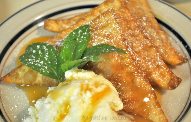 Apple pie won tons on plate with ice cream and caramel sauce.