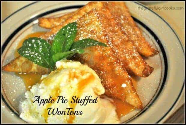 Apple Pie Stuffed WonTons / The Grateful Girl Cooks! Won tons stuffed with apple pie filling, fried until crispy, then served with ice cream and caramel sauce is a fantastic family dessert!