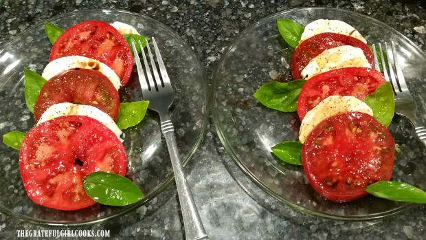 Two caprese salads, ready to eat!