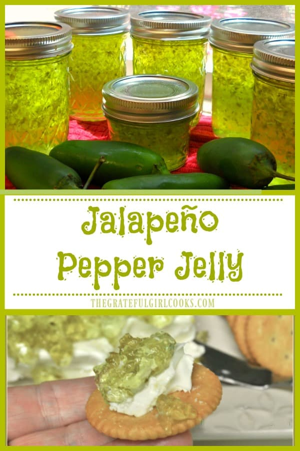 Jalapeño Pepper Jelly is sweet and spicy, can be used for appetizers, or as a glaze for pork or chicken. Canning instructions for long term storage included!