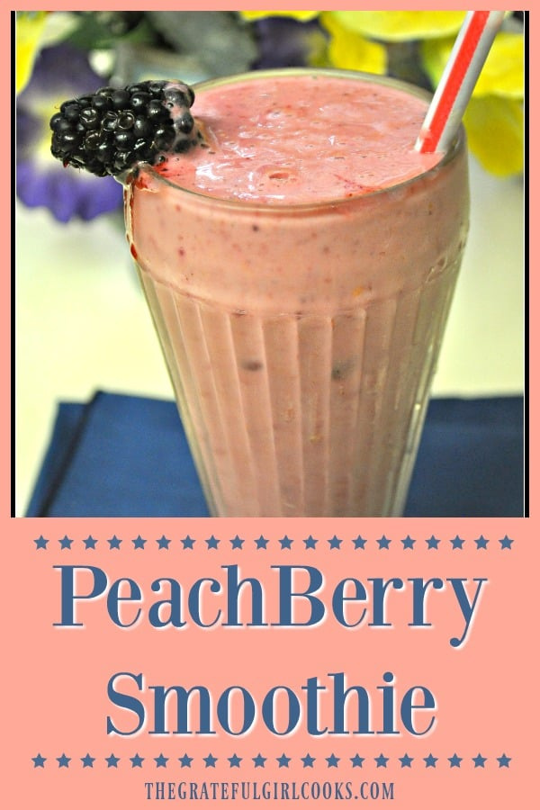 PeachBerry Smoothie is a cold and creamy, peach, raspberry, boysenberry, almond milk and yogurt filled fruit drink that tastes great any time of day!