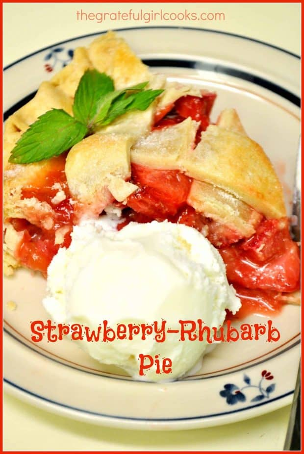 Nothing beats the taste of a classic strawberry-rhubarb pie! This double crusted pie is delicious, packed with fresh fruit, and is quite easy to make!
