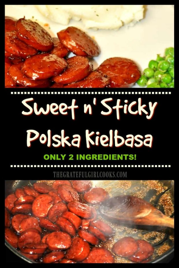Sweet n' Sticky Polska Kielbasa / The Grateful Girl Cooks! 2 Ingredients is all it takes to make this delicious, sweet and sticky, glazed beef or pork kielbasa dish! Easy family friendly recipe!