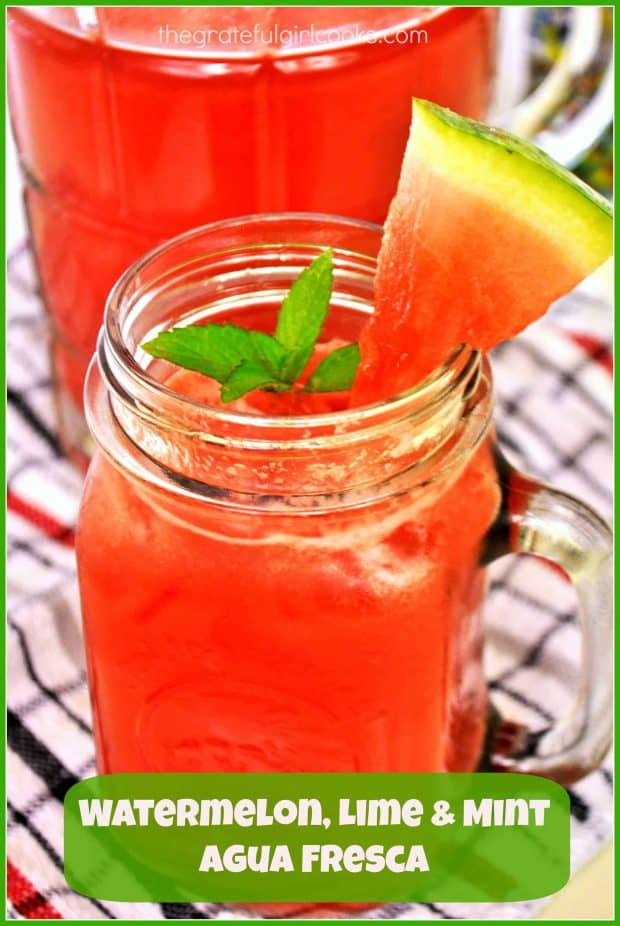 Watermelon, Lime and Mint Agua Fresca is an all natural, flavor-filled, family friendly beverage sure to refresh those you love on a hot summer day!
