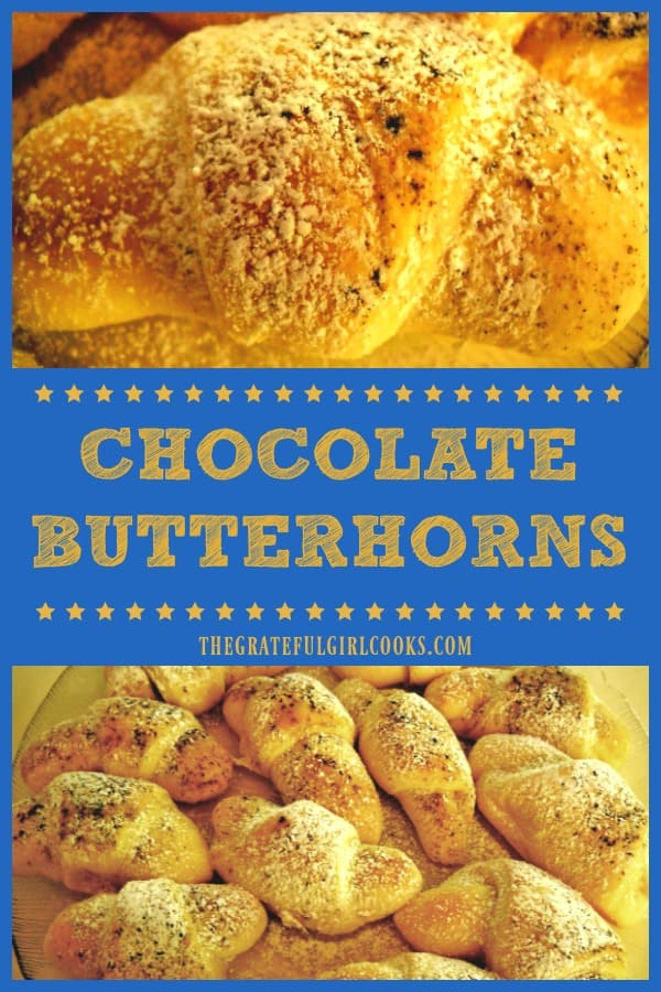 Chocolate butterhorns are made from scratch yeast rolls, with a delicious chocolate filling. Recipe yields 32, using a bread machine or made by hand.