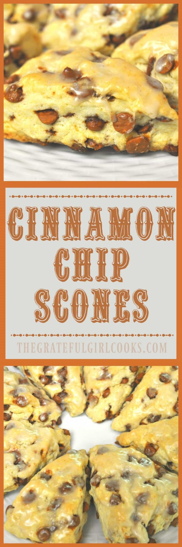 Cinnamon Chip Scones / The Grateful Girl Cooks! Make 16 absolutely delicious Cinnamon Chip Scones in under 30 minutes for a fraction of the cost of buying them at a coffeehouse!