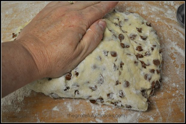 Dough for cinnamon chip scones is kneaded by hand.