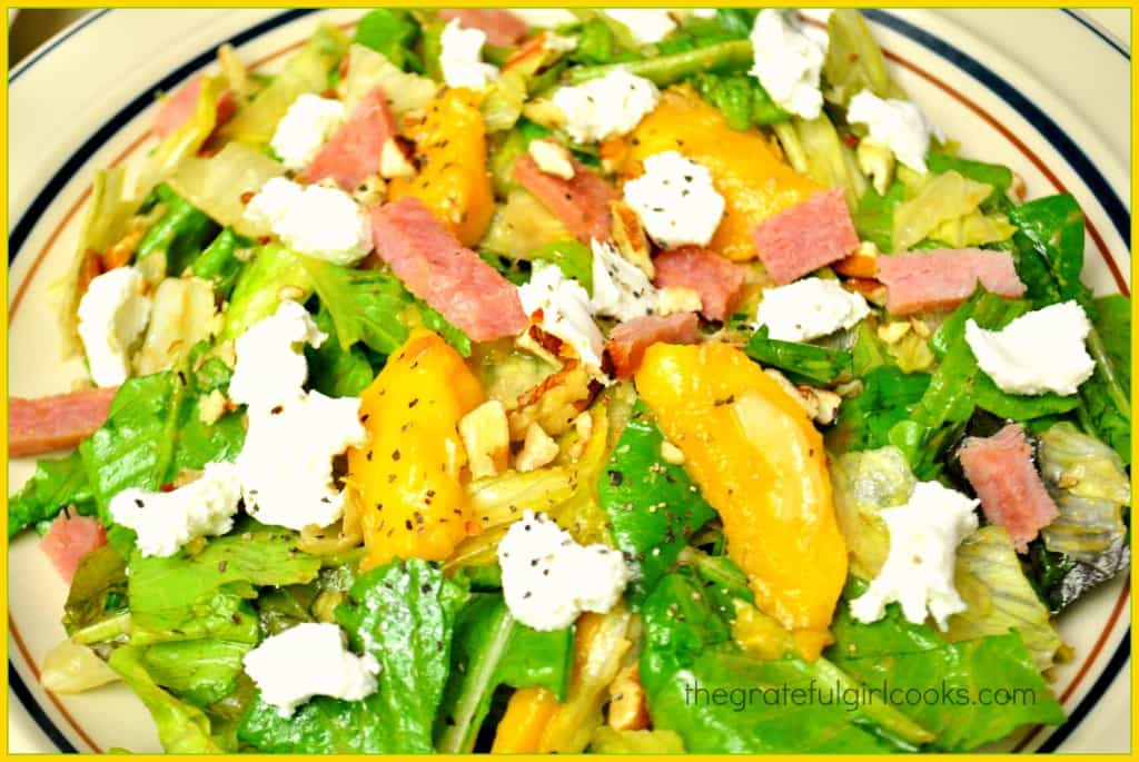 Grilled Ham Salad With Peaches And Goat Cheese / The Grateful Girl Cooks!