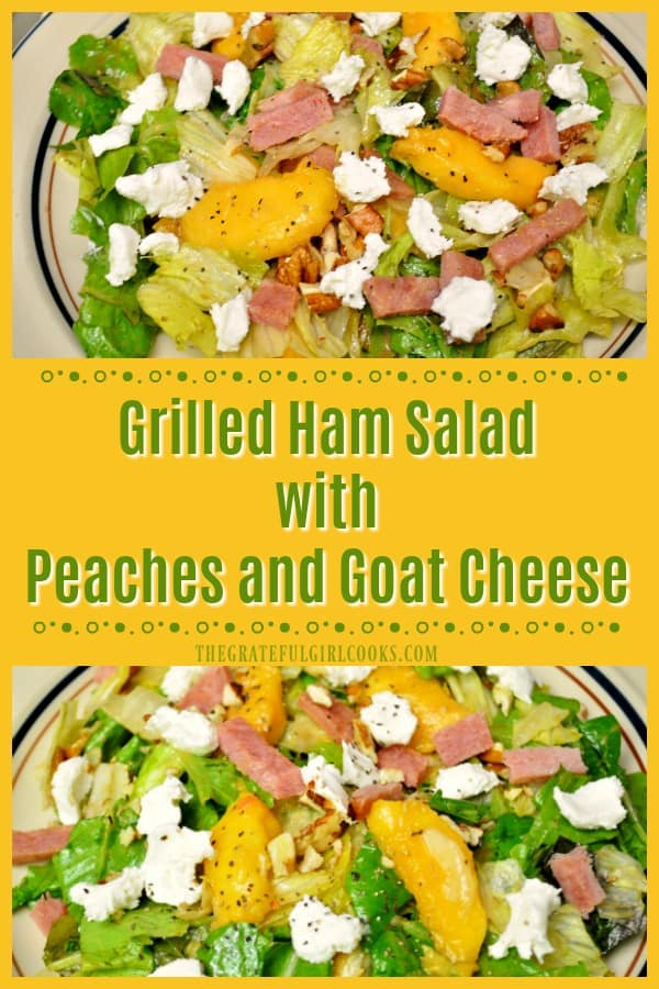 Looking for a filling entree salad? You'll love this Grilled Ham Salad on spring greens, with fresh peaches, goat cheese, toasted pecans, and balsamic dressing.