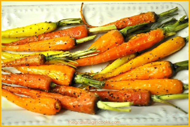 Oven roasted carrots, hot out of the oven, and ready to eat!