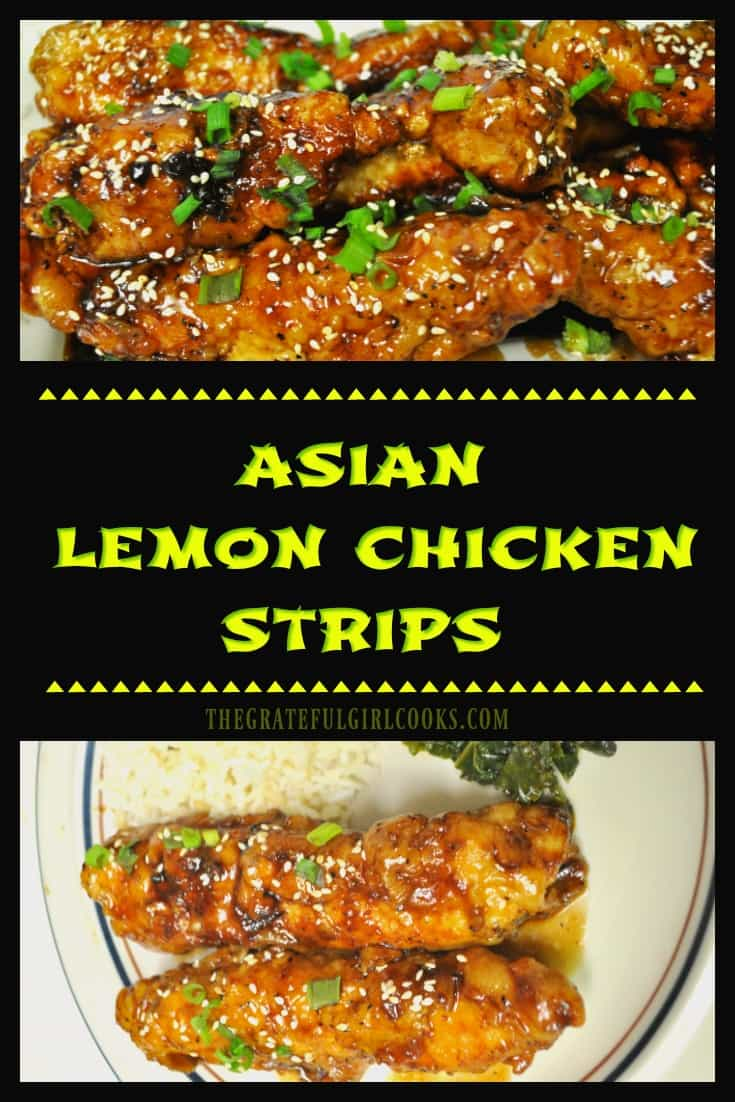 Crispy chicken breast strips are cooked, then coated in an Asian-inspired, sweet and sticky, lemon glaze in this delicious, restaurant-quality dish!