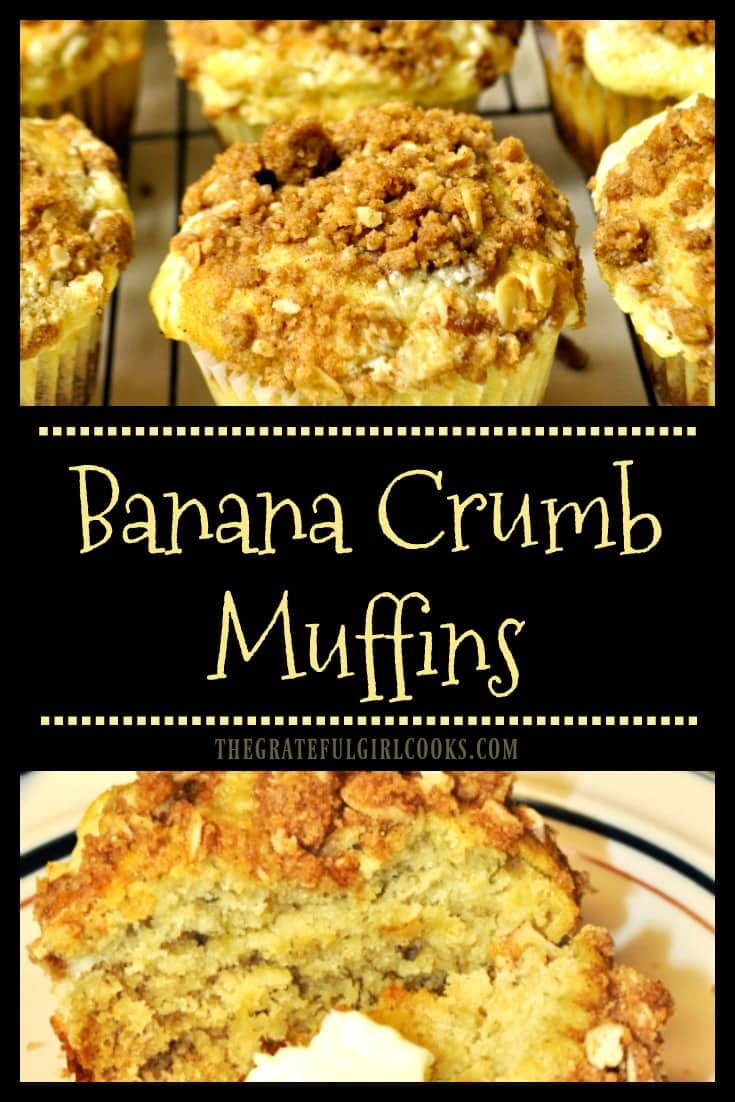 You're gonna love these delicious, Banana Crumb Muffins, with a surprise cream cheese filling! They're a family favorite breakfast or snack!