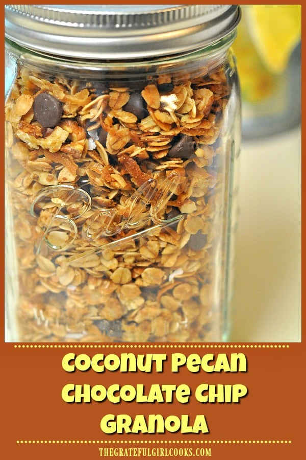 Coconut Pecan Chocolate Chip Granola / The Grateful Girl Cooks!