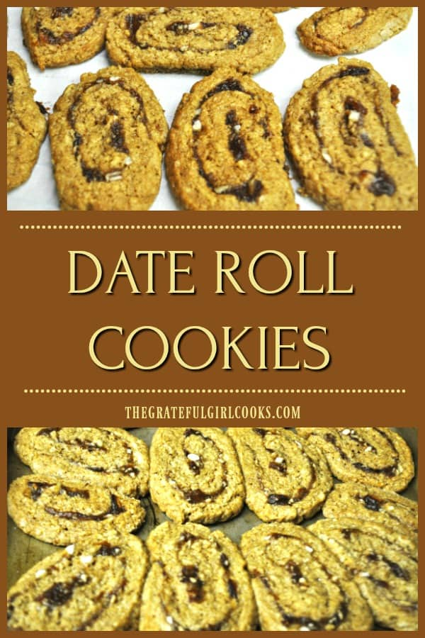 Date roll cookies are sweet, soft and chewy slice and bake cookies, featuring a simple rolled cookie dough with a cooked date and pecan filling.