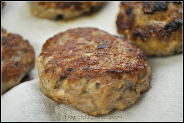 One of the homemade breakfast sausage patties, up close.