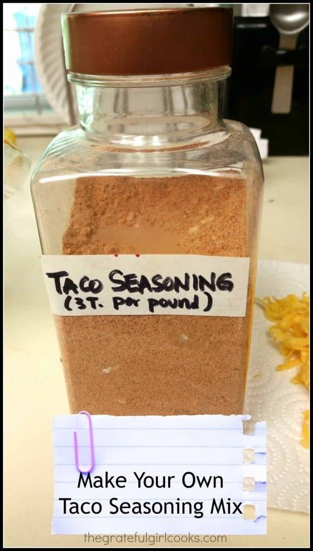 It's easy to make up a large batch of taco seasoning mix... perfect Mexican spices for ground beef, chicken or pork to use in tacos, taco salads, etc.