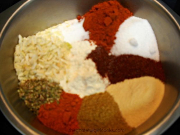 Spices in bowl used to make the seasoning mix.