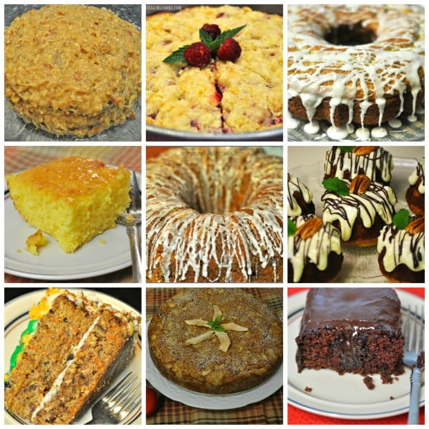 """Collage of cakes with recipes on """"The Grateful Girl Cooks!"""" blog."""