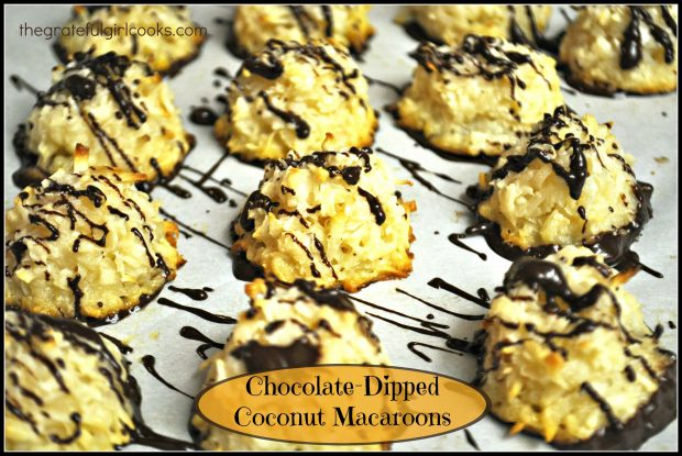 You'll enjoy chocolate-dipped coconut macaroons! Easy to make, with chocolate bottoms and drizzle, they're a delicious chewy treat for eating and gift giving!