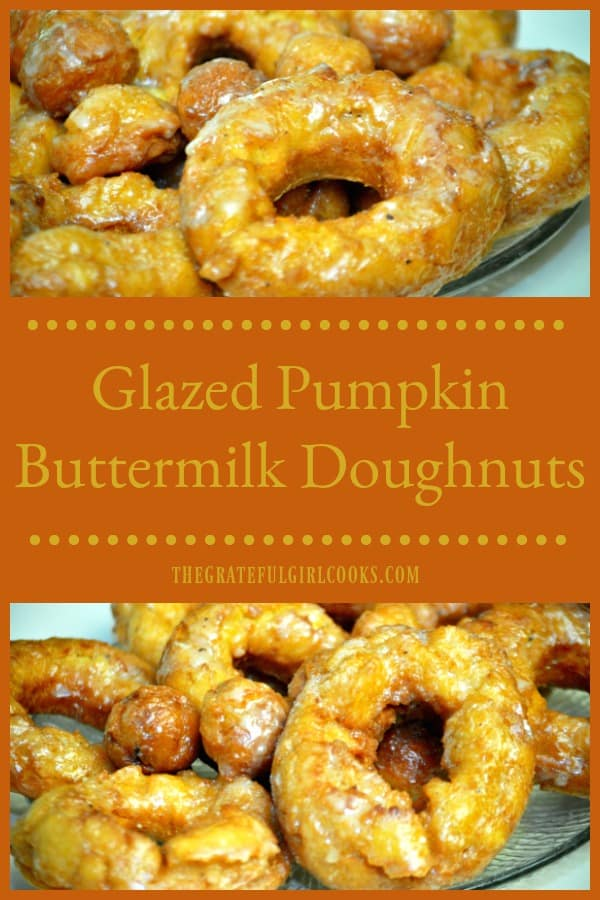 Make a dozen yummy glazed pumpkin buttermilk doughnuts (and doughnut holes) in about 30 minutes! No rising time involved for this easy recipe.
