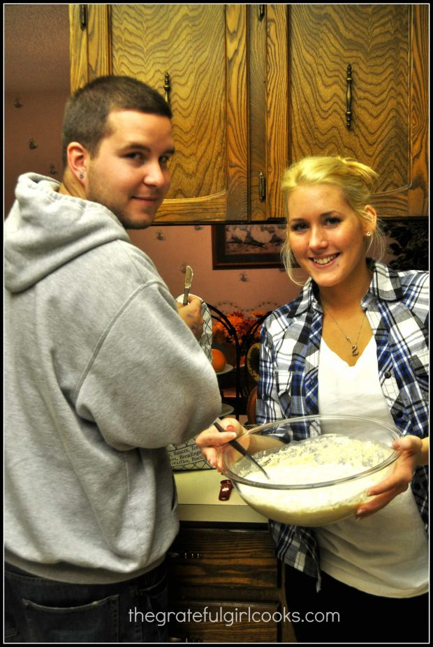 Our son and girlfriend mixing up dough for miracle bread.
