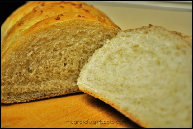 A slice of miracle bread, ready for some butter!