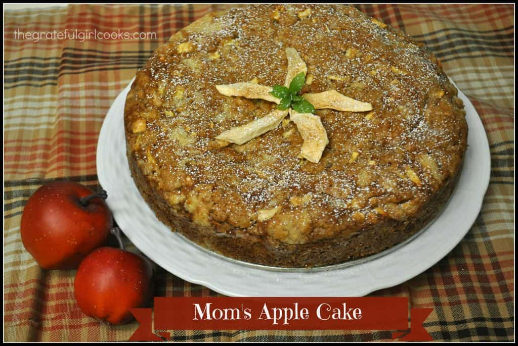 Mom's Apple Cake / The Grateful Girl Cooks! This moist and absolutely delicious cake is PERFECT for Fall!