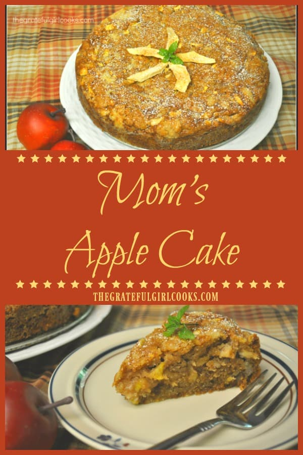 Mom's Apple Cake is a classic family dessert OR coffeecake, with fresh baking apples, cinnamon and pecans (or walnuts). Easy to prepare, and tastes delicious!